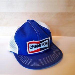 Vintage Champion Spark Plug Patch Trucker Hat Snapback Mesh Blue White